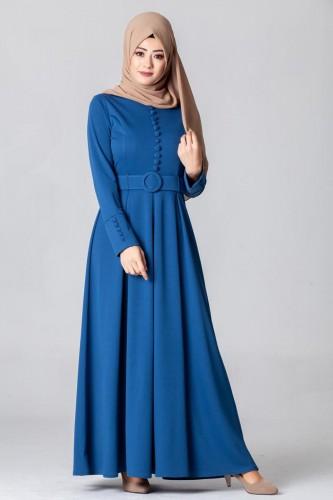 - Kolları Sık Düğmeli Tesettür Elbise-3538Mavi