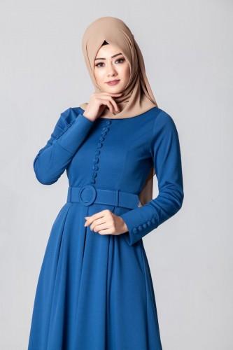 - Kolları Sık Düğmeli Tesettür Elbise-3538Mavi (1)