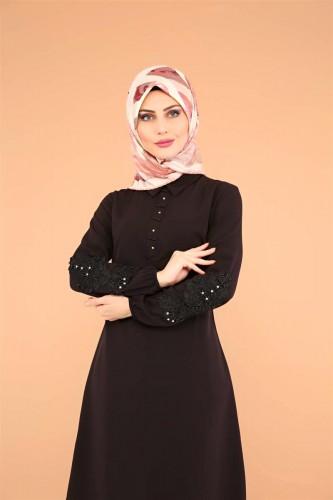 - Kolları Taş Ve Güpür Detay Tunik-3520 Siyah (1)