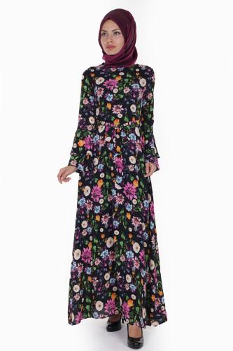 Modaebva - Kolları Volan Çiçek Desen Elbise-3030 Siyah