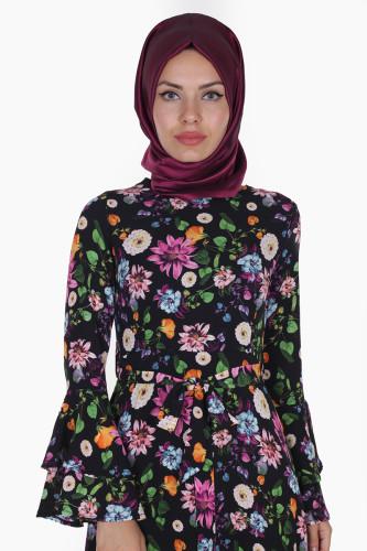 Modaebva - Kolları Volan Çiçek Desen Elbise-3030 Siyah (1)