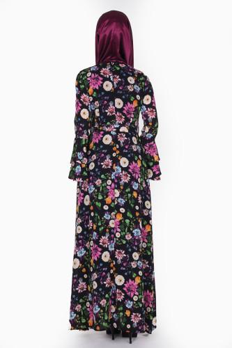 Kolları Volan Çiçek Desen Elbise-3030 Siyah - Thumbnail
