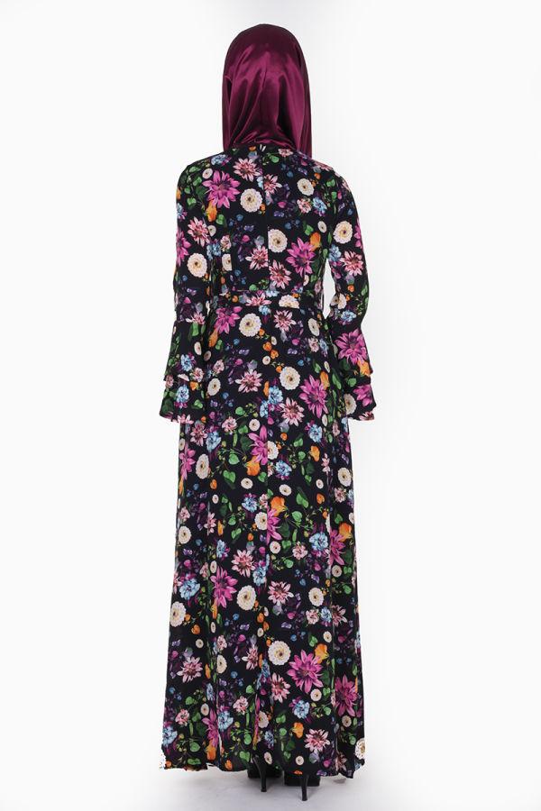 Kolları Volan Çiçek Desen Elbise-3030 Siyah