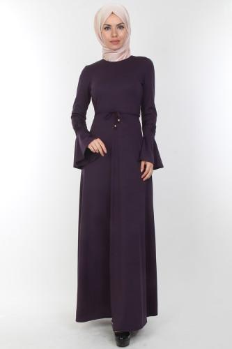 Modaebva - Kolları Volan Güpür Detay Elbise-00106Mor