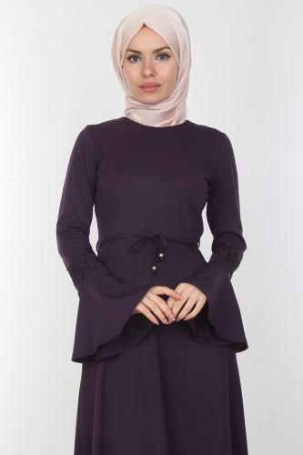 Modaebva - Kolları Volan Güpür Detay Elbise-00106Mor (1)