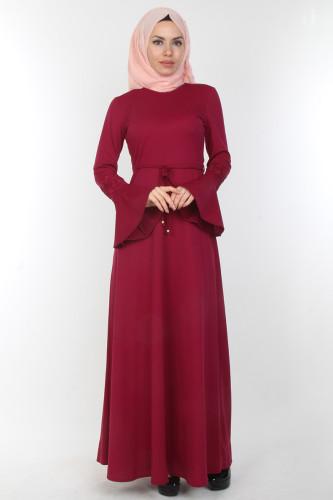 Modaebva - Kolları Volan Güpür Detay Elbise-00106Mürdüm