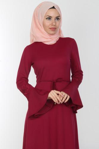 Modaebva - Kolları Volan Güpür Detay Elbise-00106Mürdüm (1)