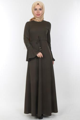 - Kolları Volan Güpür Detay Elbise-00106Yeşil