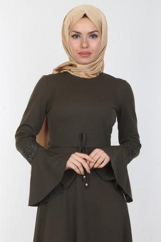 - Kolları Volan Güpür Detay Elbise-00106Yeşil (1)