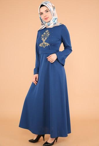 Kollari Volan Nakışlı Elbise-3537indigo - Thumbnail