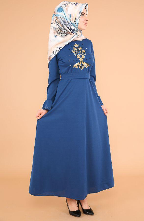 Kollari Volan Nakışlı Elbise-3537indigo