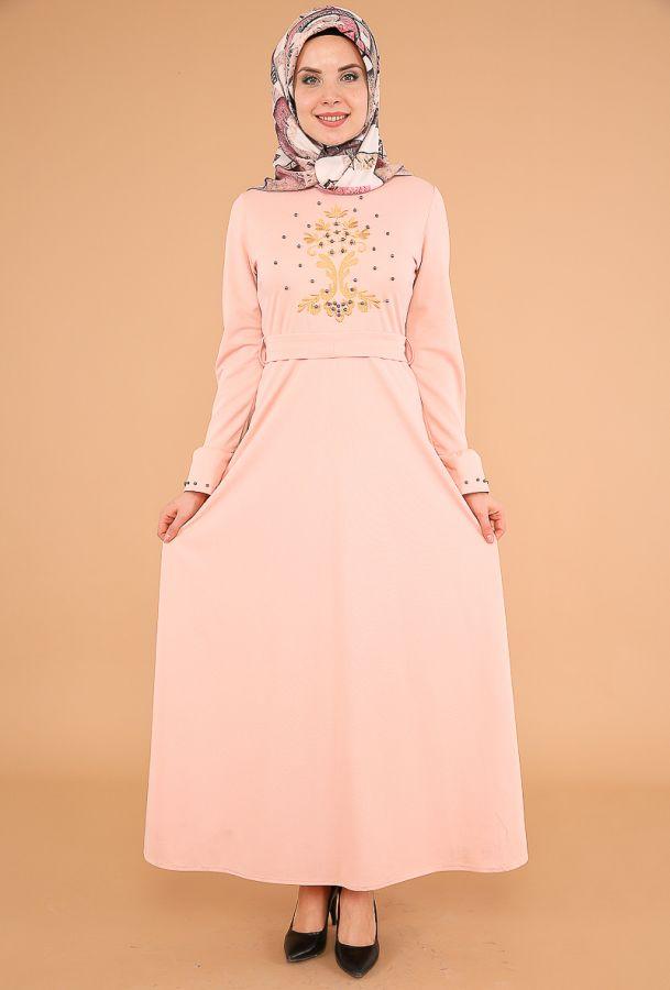 Kollari Volan Nakışlı Elbise-3537Pudra