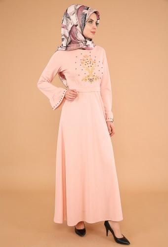 Kollari Volan Nakışlı Elbise-3537Pudra - Thumbnail