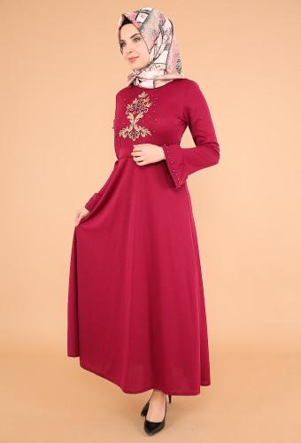 Kollari Volan Nakışlı Elbise-3537Mürdüm - Thumbnail