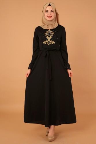 Modaebva - Kollari Volan Nakışlı Elbise-3537Siyah
