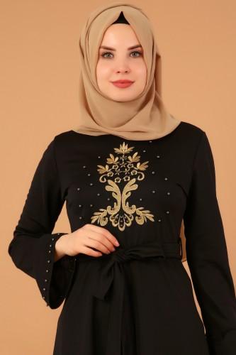 Modaebva - Kollari Volan Nakışlı Elbise-3537Siyah (1)