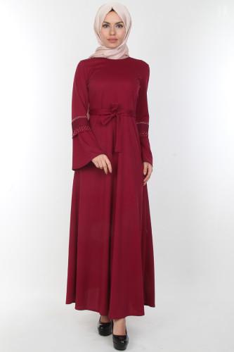 Modaebva - Kolları Volan Taş Detay Elbise-00163Mürdüm