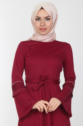 Modaebva - Kolları Volan Taş Detay Elbise-00163Mürdüm (1)