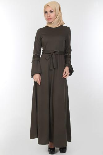 Modaebva - Kolları Volan Taş Detay Elbise-00163Yeşil