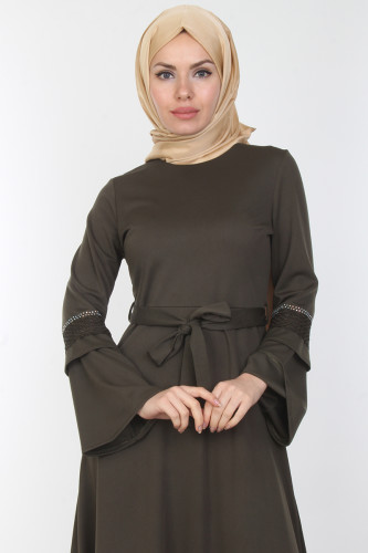 Modaebva - Kolları Volan Taş Detay Elbise-00163Yeşil (1)