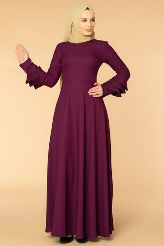 Modaebva - Kolu Kat Kat Detay Tesettür Elbise- 3010 Mürdüm