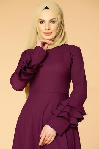 Modaebva - Kolu Kat Kat Detay Tesettür Elbise- 3010 Mürdüm (1)