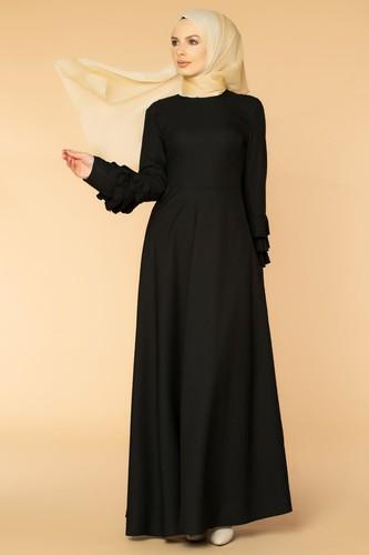 Modaebva - Kolu Kat Kat Detay Tesettür Elbise- 3010 Siyah