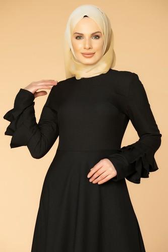 Modaebva - Kolu Kat Kat Detay Tesettür Elbise- 3010 Siyah (1)