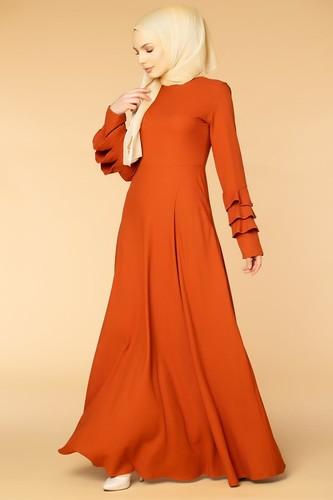 Modaebva - Kolu Kat Kat Detay Tesettür Elbise- 3010 Turuncu