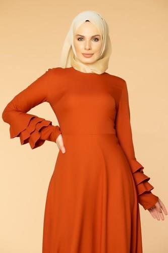 Kolu Kat Kat Detay Tesettür Elbise- 3010 Turuncu - Thumbnail