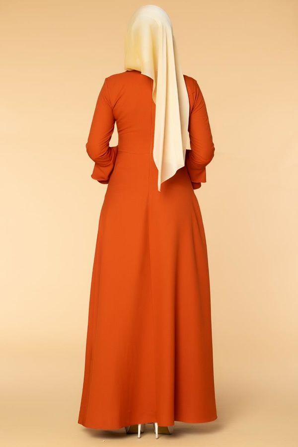 Kolu Kat Kat Detay Tesettür Elbise- 3010 Turuncu