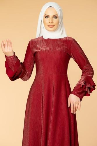 Modaebva - Kolu Kat Kat Simli Tesettür Elbise-2009 Bordo (1)