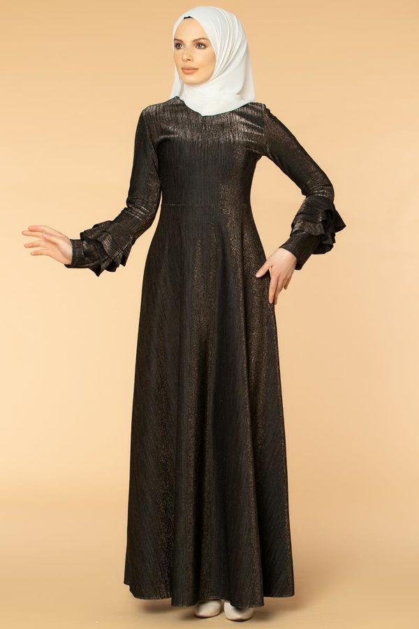 Kolu Kat Kat Simli Tesettür Elbise-2009 Siyah