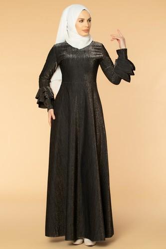 Kolu Kat Kat Simli Tesettür Elbise-2009 Siyah - Thumbnail
