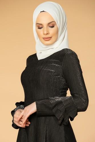 Modaebva - Kolu Kat Kat Simli Tesettür Elbise-2009 Siyah (1)