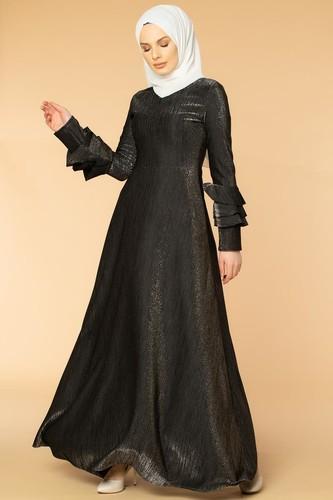 Modaebva - Kolu Kat Kat Simli Tesettür Elbise-2009 Siyah