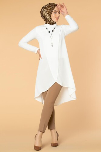 Modaebva - Kolyeli Çapraz Tesettür Tunik-535 Beyaz