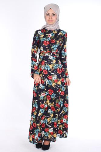 Modaebva - Kolyeli Çiçek Desen Elbise-Siyahbordol 2067