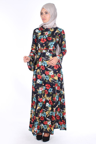 Modaebva - Kolyeli Çiçek Desen Elbise-Siyahbordol 2067 (1)