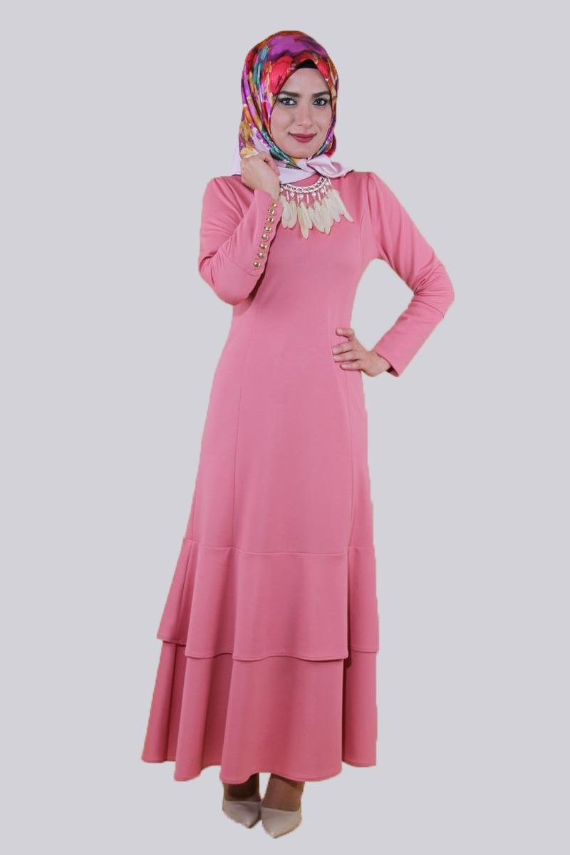 1dece76fa553d Kolyeli Fırfırlı Elbise-Gülkurusu0640 - Modaebva