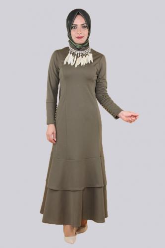 - Kolyeli Fırfırlı Elbise-Yeşil0640
