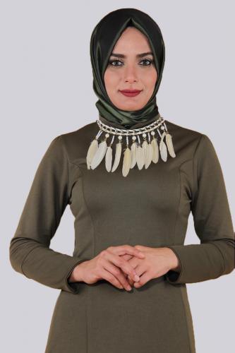 - Kolyeli Fırfırlı Elbise-Yeşil0640 (1)