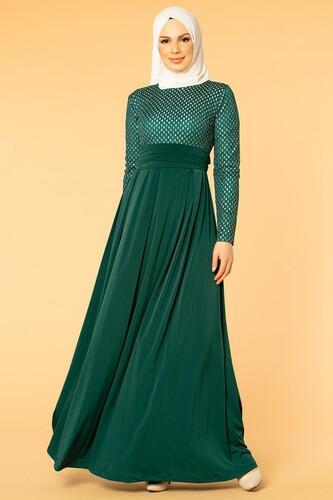 Modaebva - Kuşaklı Tesettür Abiye-5004 Zümrüt yeşili