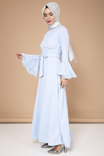 - Lazer Kesim İncili Tesettür Elbise-3563Bebemavisi