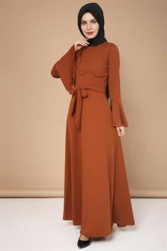 - Lazer Kesim İncili Tesettür Elbise-3563Kiremit