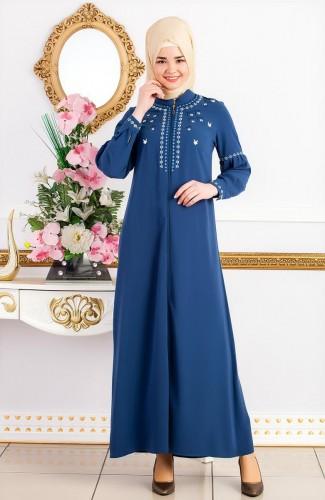 - Nakış İşlemeli Fermuarlı Ferace-2049 Mavi