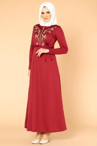 Modaebva - Nakışlı Fermuarlı Tesettür Elbise-1681 Bordo