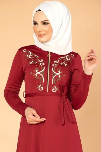 Modaebva - Nakışlı Fermuarlı Tesettür Elbise-1681 Bordo (1)