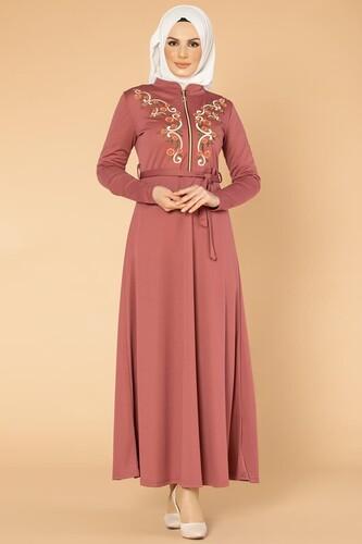 Modaebva - Nakışlı Fermuarlı Tesettür Elbise-1681 Gülkurusu