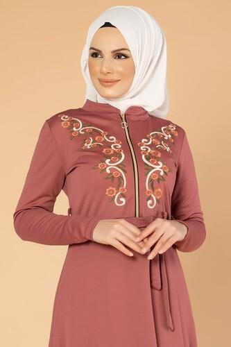 Modaebva - Nakışlı Fermuarlı Tesettür Elbise-1681 Gülkurusu (1)